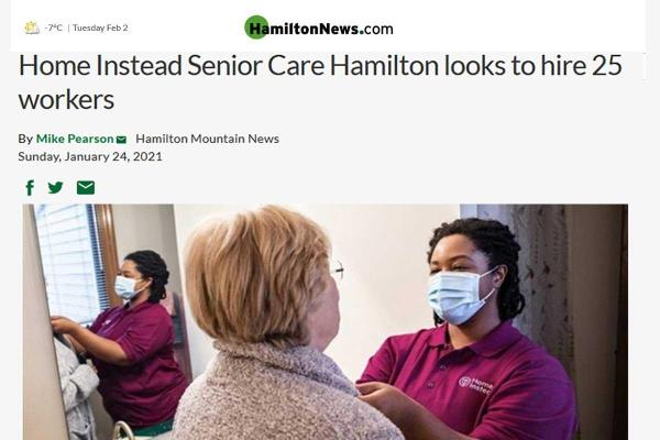 The Hamilton Mountain News published featuring Home Instead Hiring 25 Caregivers